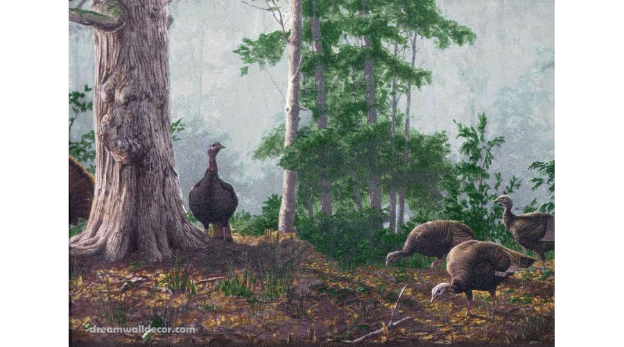 Home Brown Rainforest Scenery Turkeys Wallpaper Border 900x500