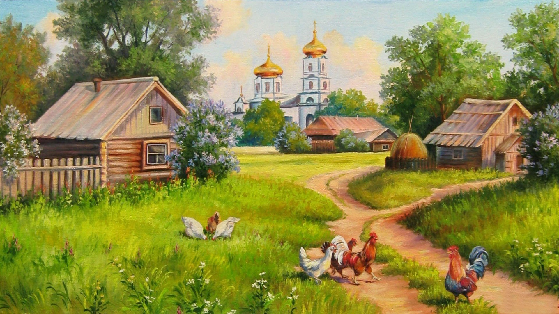 Village House Painting Wallpapers   1920x1080   700072 1920x1080