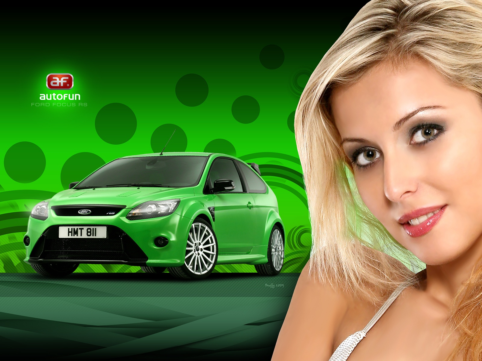 Blondie beautiful eyes near a green ford focus rs gt hd wallpaper 1600x1200
