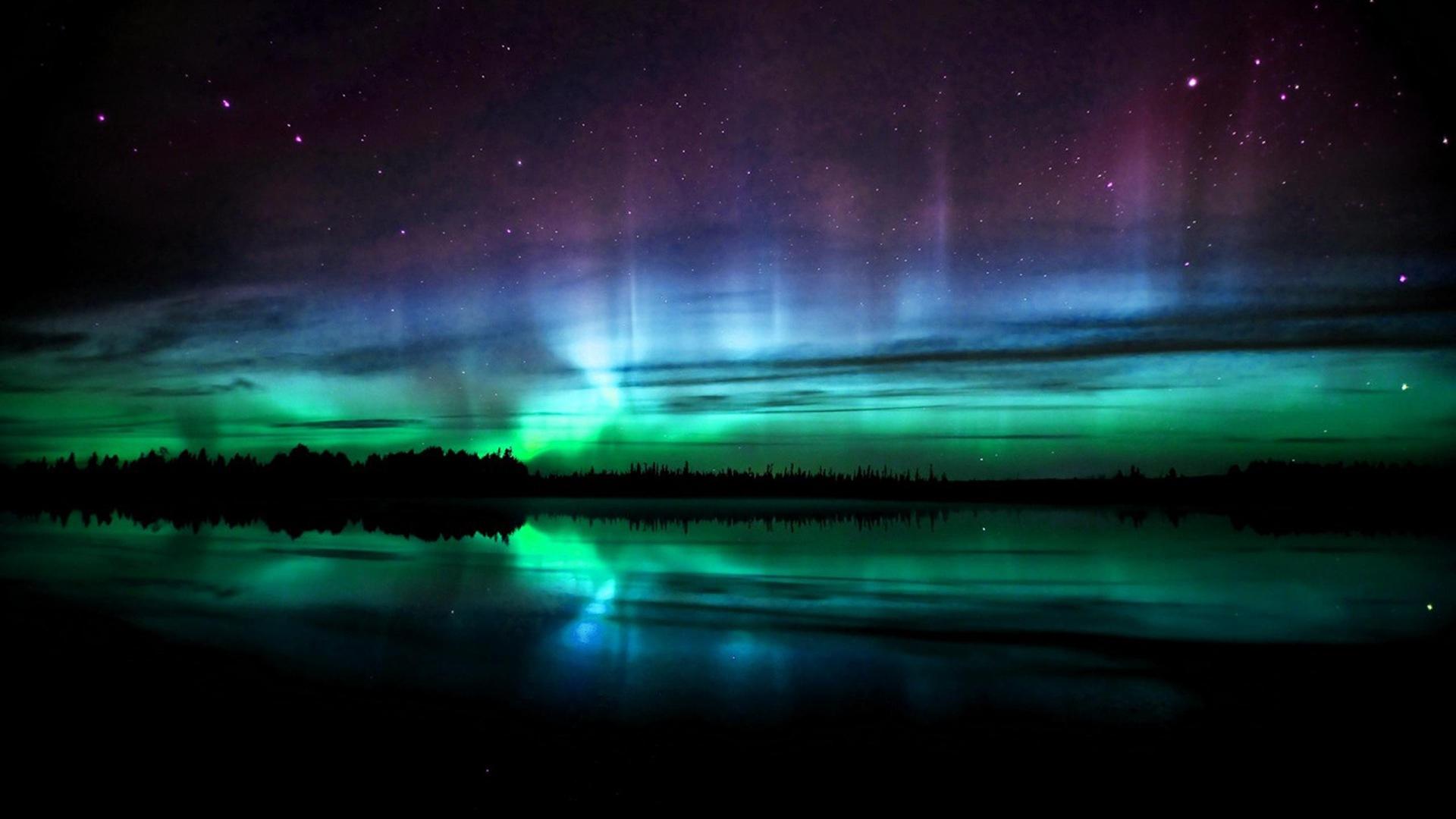 ... Northern Lights Over Alskan Winter Lscape HD Desktop Background