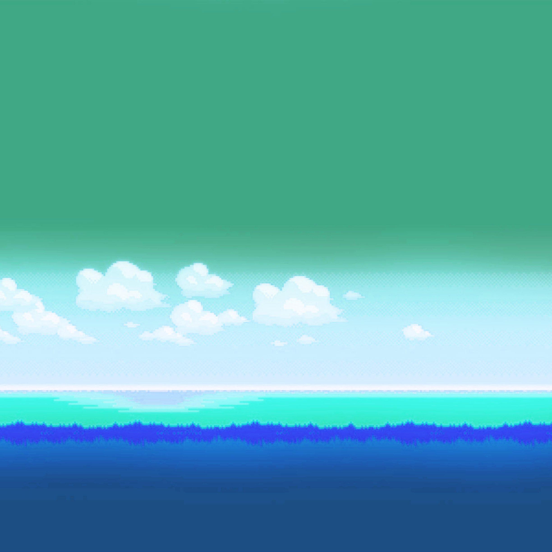 FREEIOS7 red sky 8 bit green   parallax HD iPhone iPad wallpaper 2448x2448
