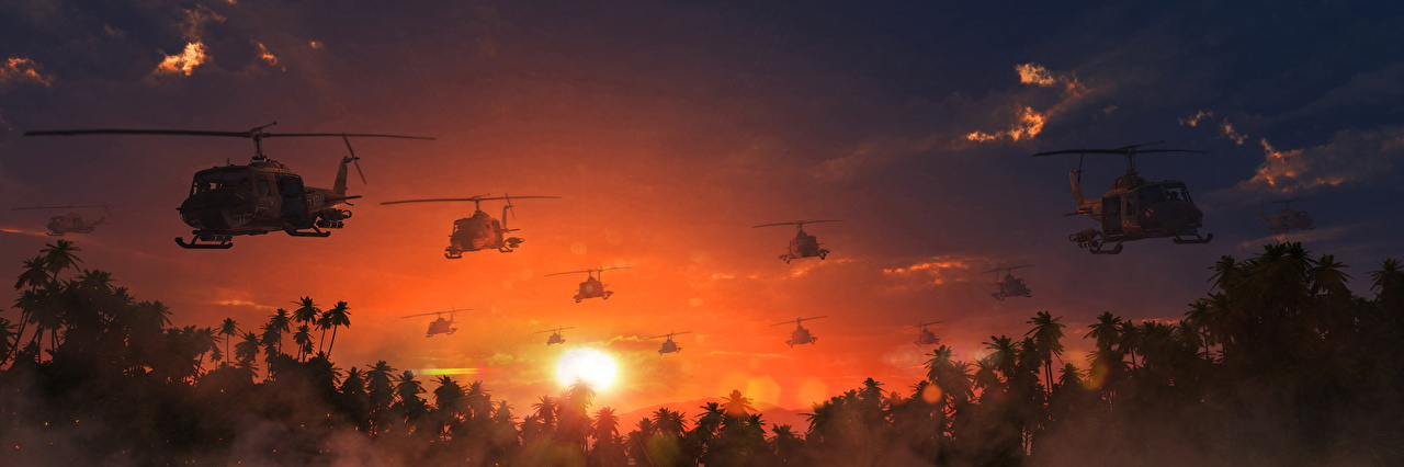 Wallpapers Helicopters The Vietnam war Sun Sky Sunrises and sunsets 1280x426