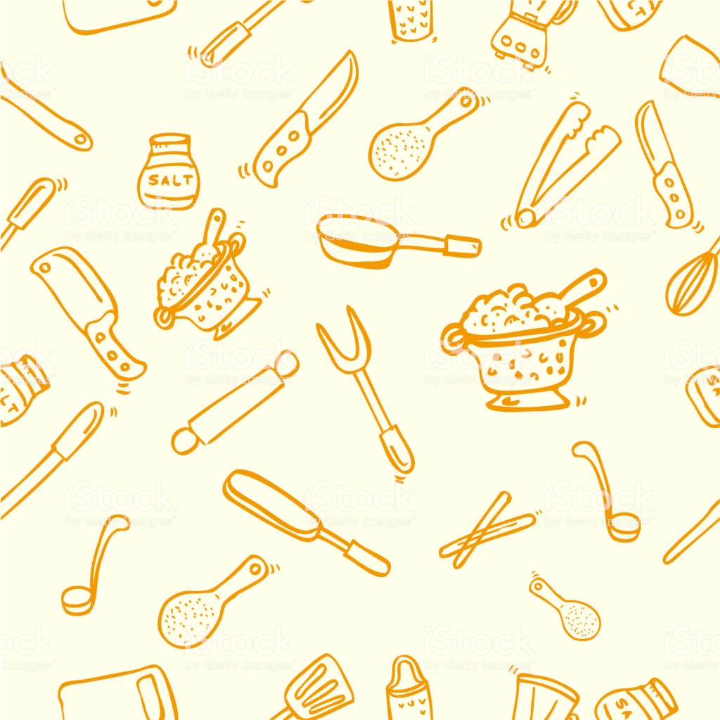 Hand Draw Sketch Seamless Background Cook Ware For Wallpaper 1024x1023
