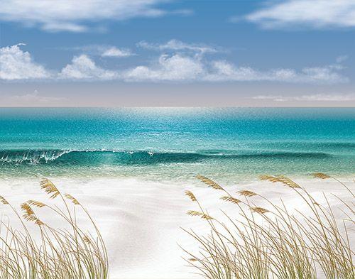 Custom Mural Wallpaper Hd Beautiful Sandy Beach Sea View: Discount Wallpaper Borders Beach Scenes