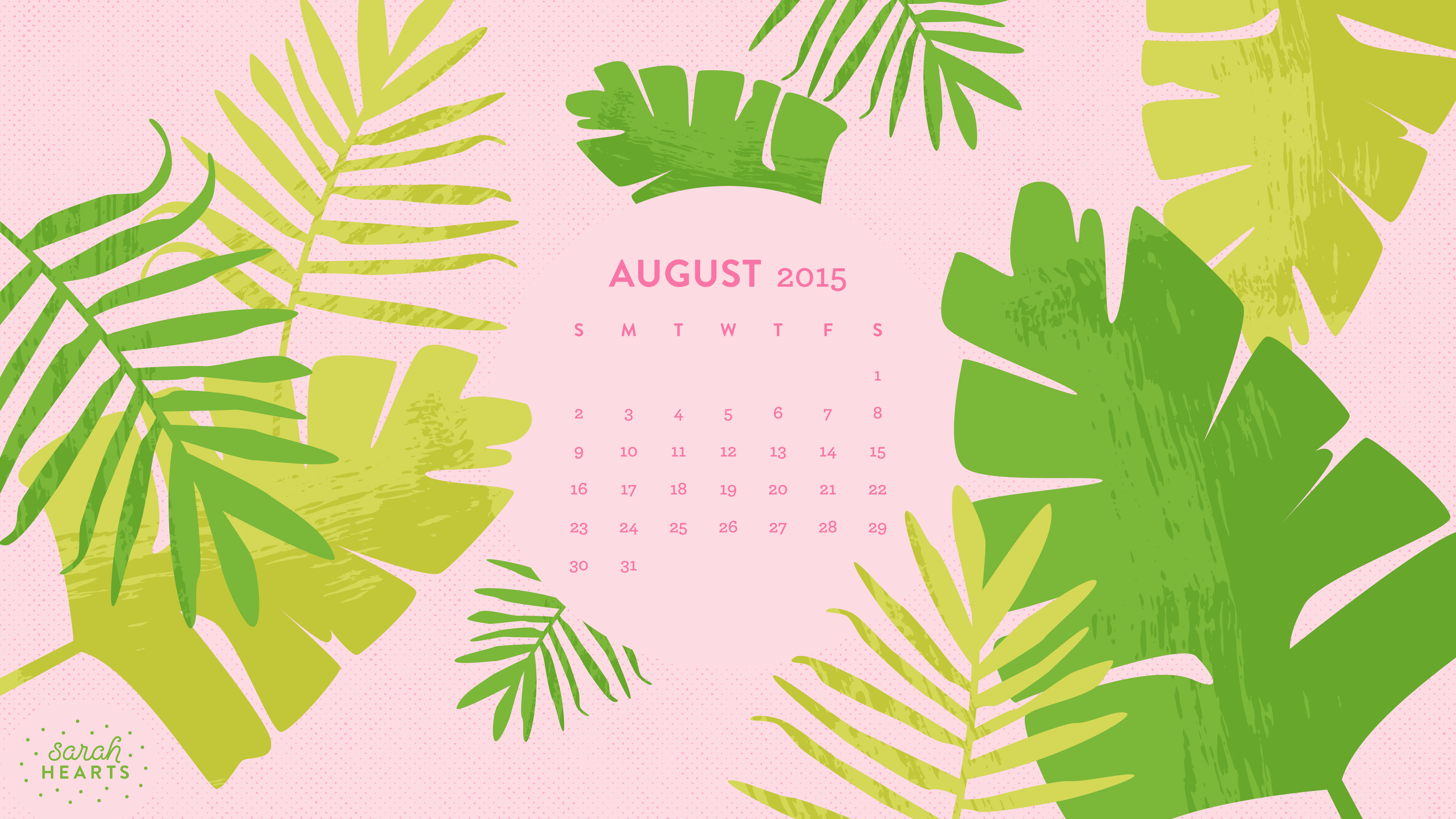 August 2015 Calendar Wallpaper   Sarah Hearts 5333x3000