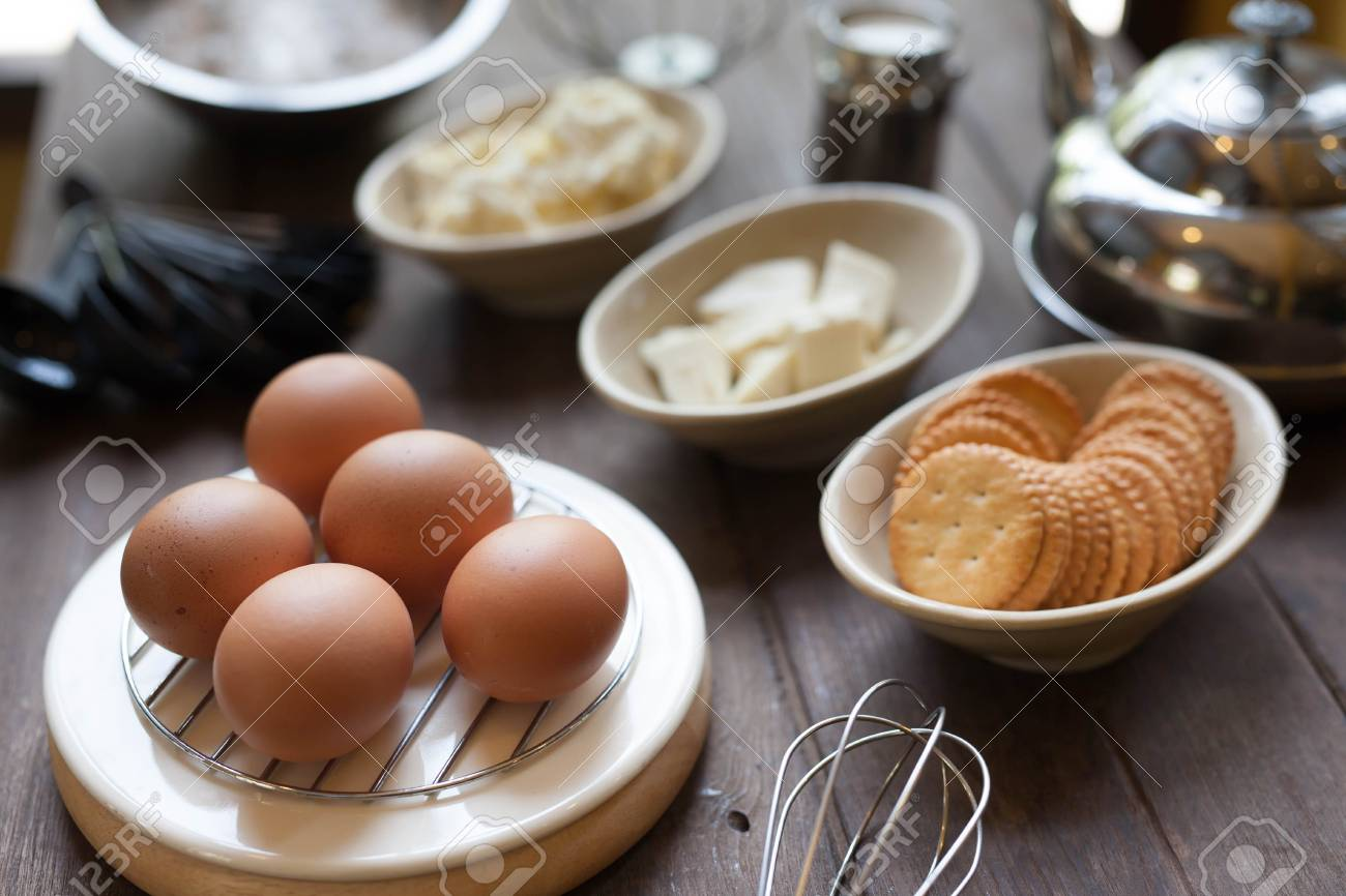 Eggs On Bakery Tools Prepare Background Stock Photo Picture And 1300x866