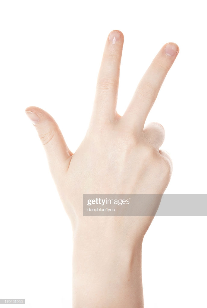 Hand Counting Three Fingers On White Background High Res Stock 687x1024