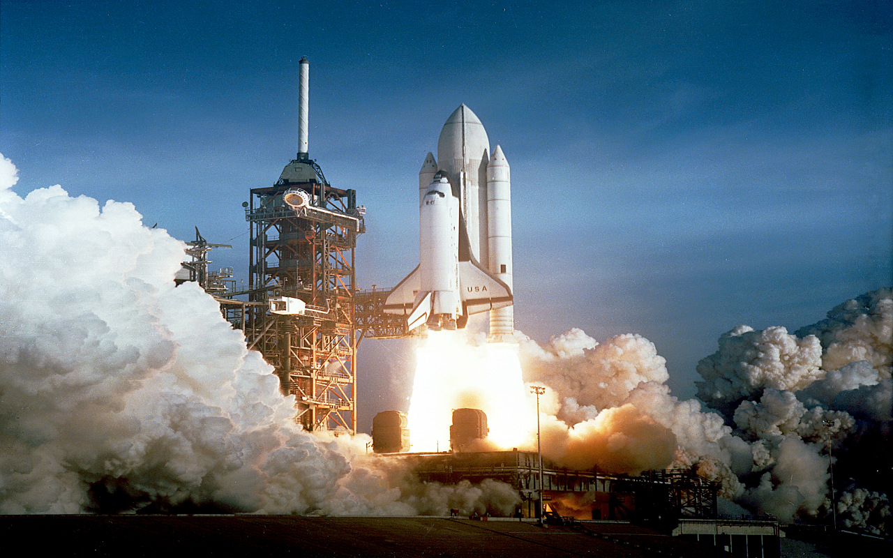 Space Shuttle Columbia Launching Desktop Wallpaper 1280x800