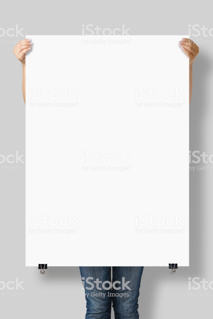 Woman Holding A Blank A0 Poster Mockup Isolated On A Gray 683x1024