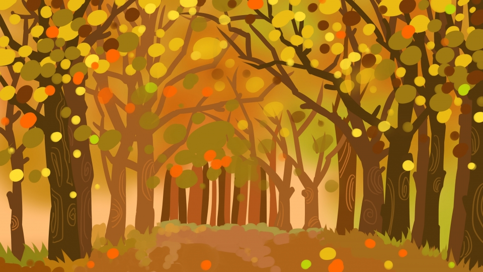 Autumn Yellow Withered Trees Trail Background Autumn Yellow 960x540