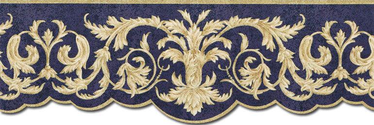 Gold Scroll Leaf Leaves Blue Wallpaper Border RST21525D eBay 770x259