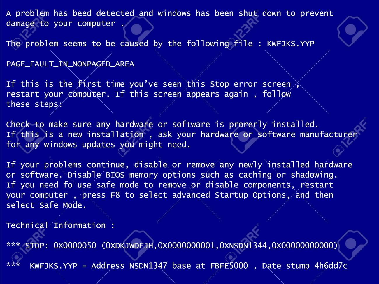 Blue Screen Of Death System Crash Report Background Royalty 1300x974