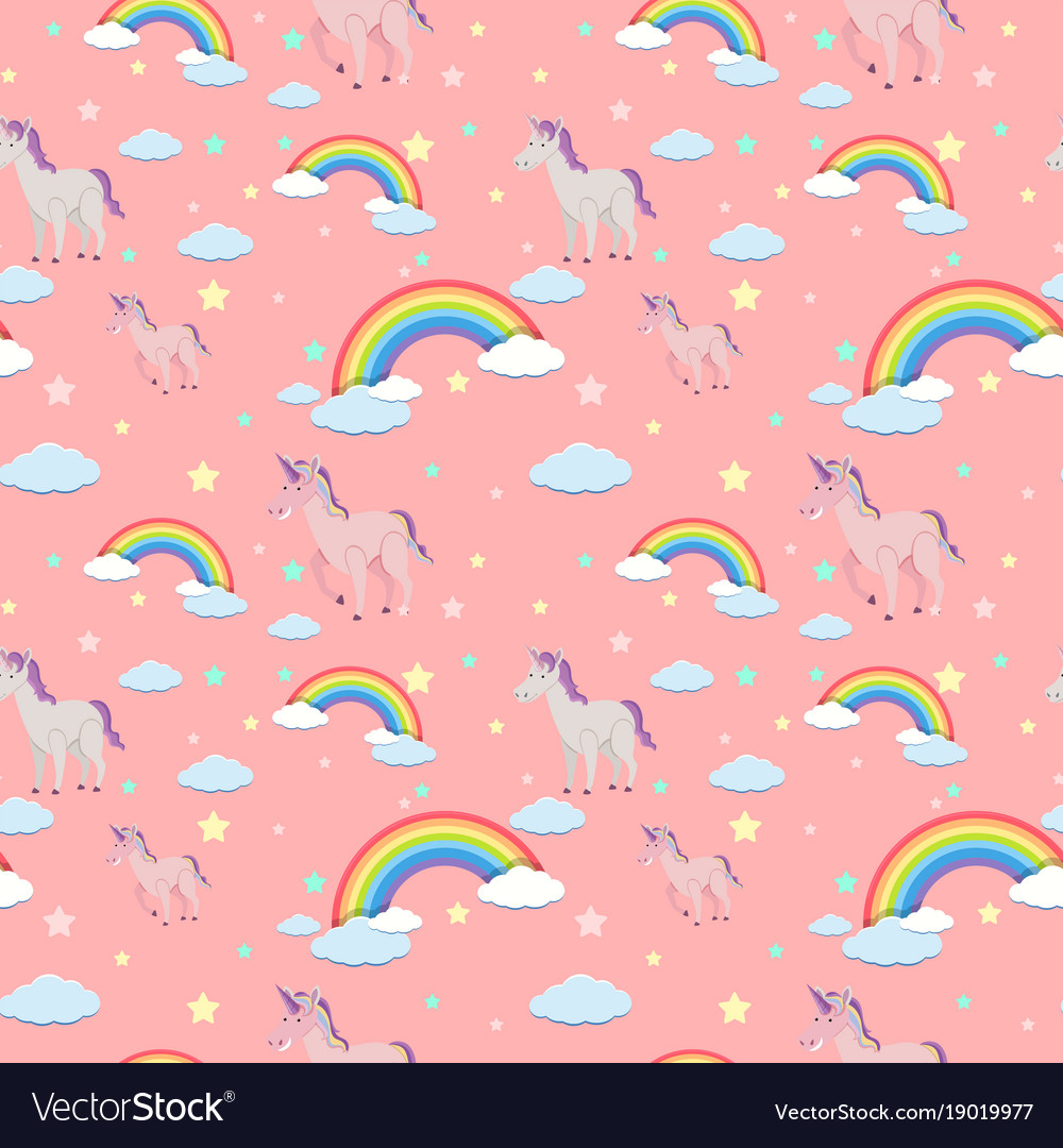 Seamless background with unicorns and rainbows Vector Image 1000x1080