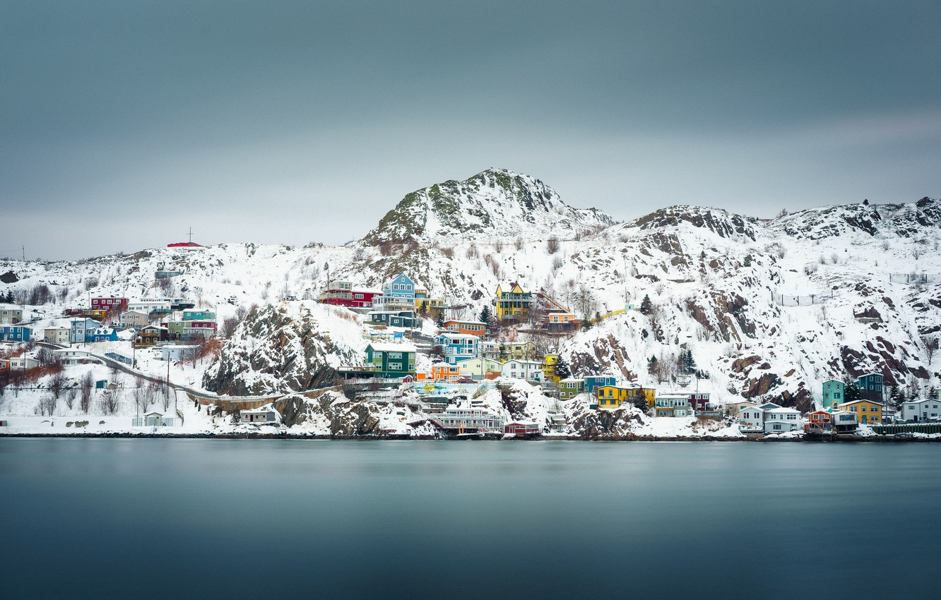 Wallpaper Canada winter snow houses cloudy Newfoundland and 1332x850