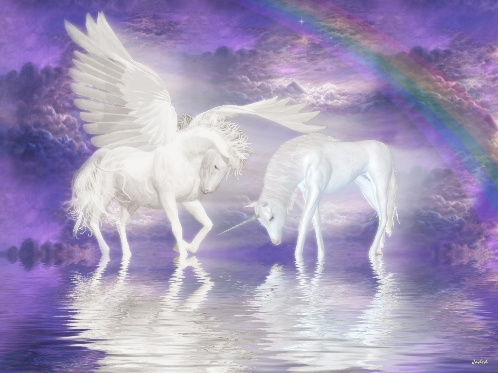 Unicorn and Pegasus Wallpaper   Unicorns Wallpaper 6414665 1024x768