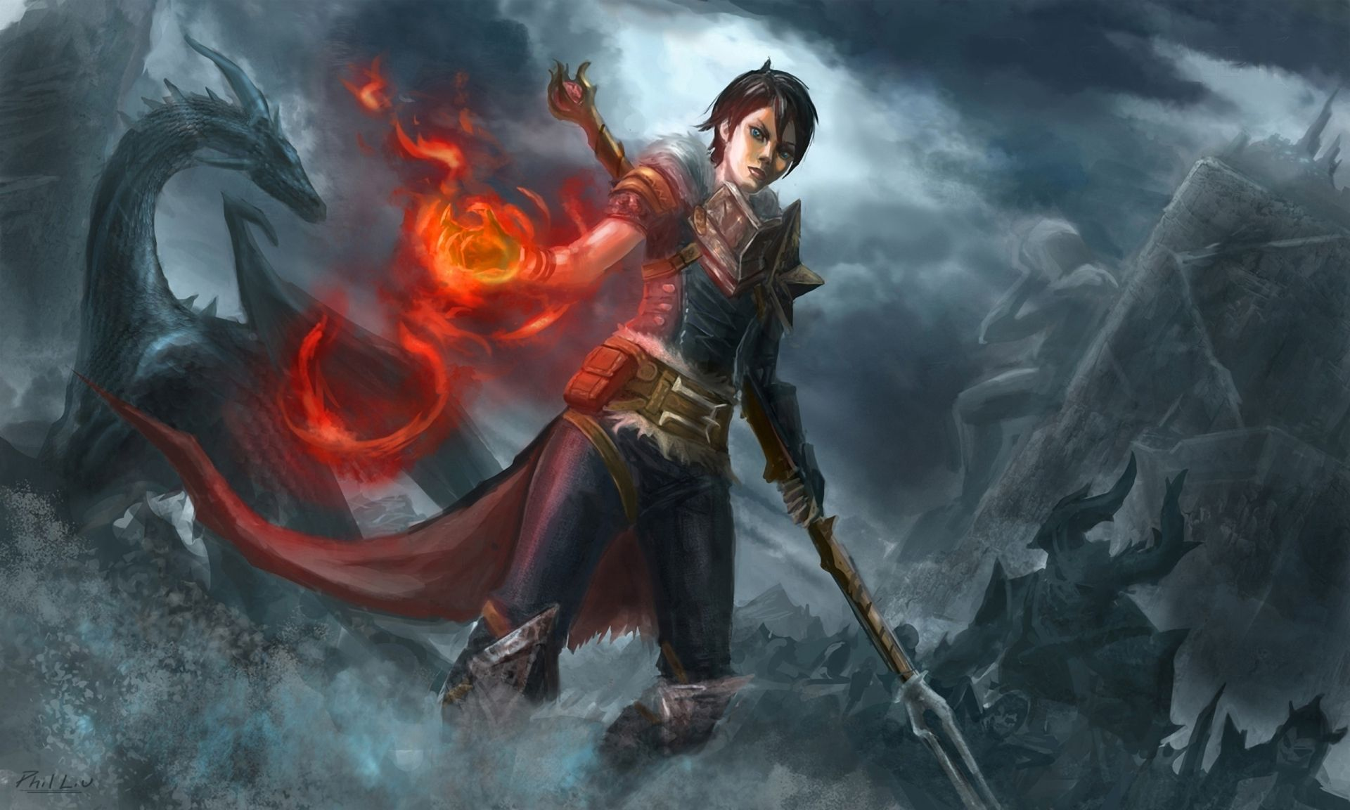Desktop Wallpaper Of Dragon Age Image Hawk Girl Fire Mage 1920x1152