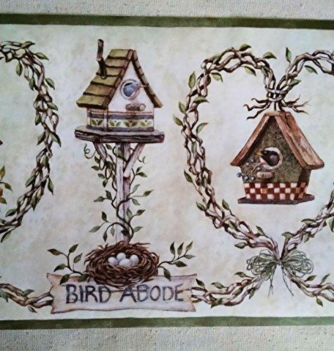 Bird Birdhouses Blue Birds Wallpaper Border BP007121B 475x500