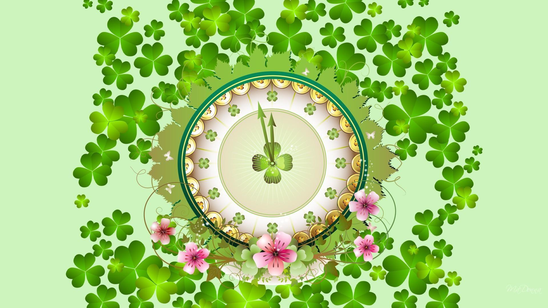 St Patricks Day Wallpaper   Four Leaf Clovers Clip Art 1920x1080