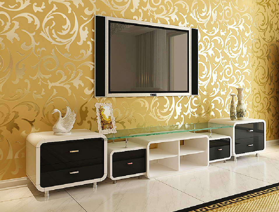 Yellow 3D wallpaper TV wall new home New Home 957x729