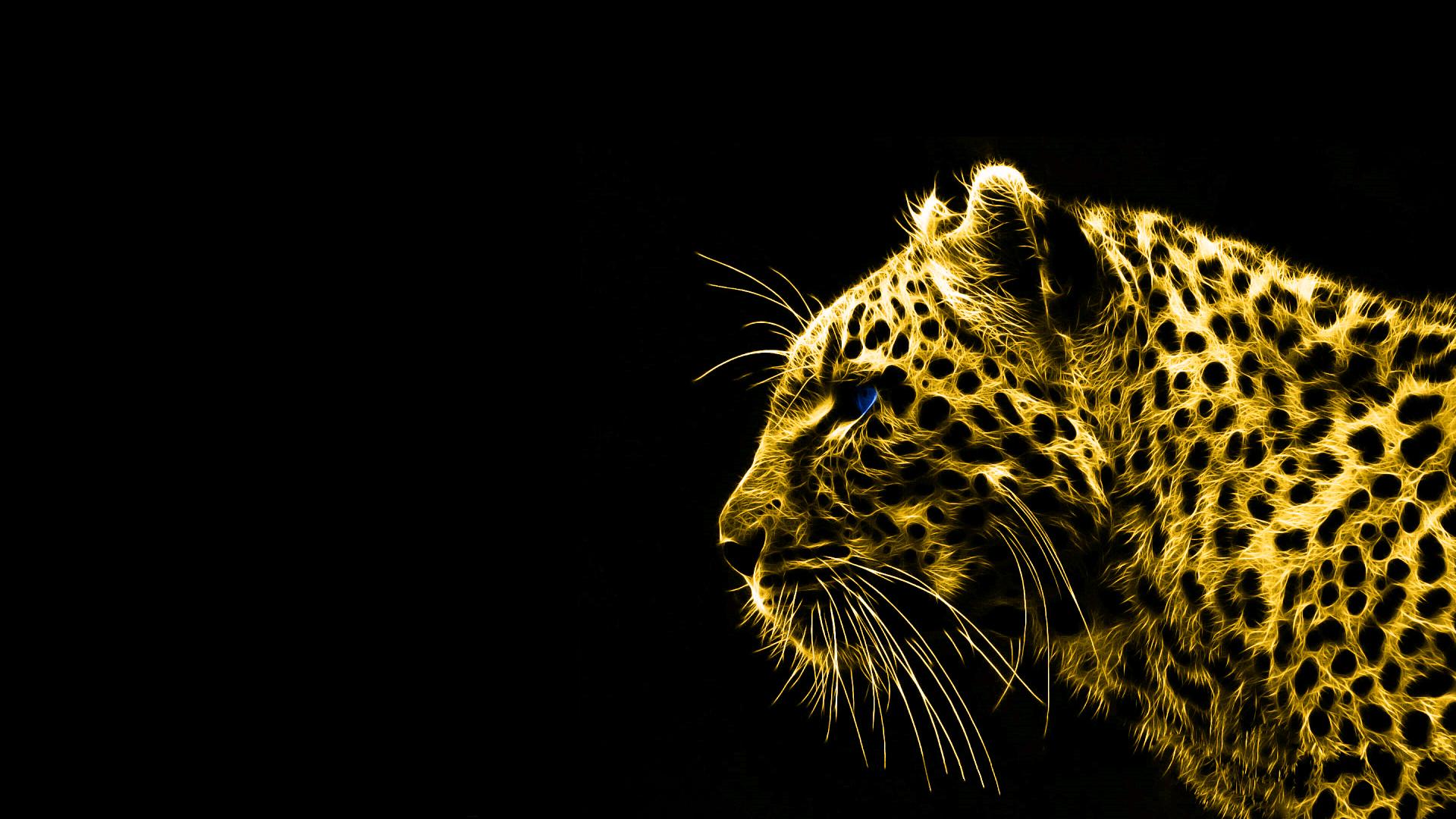 Animals Gold Spirit Leopards Black Background HD Wallpaper HTML Code