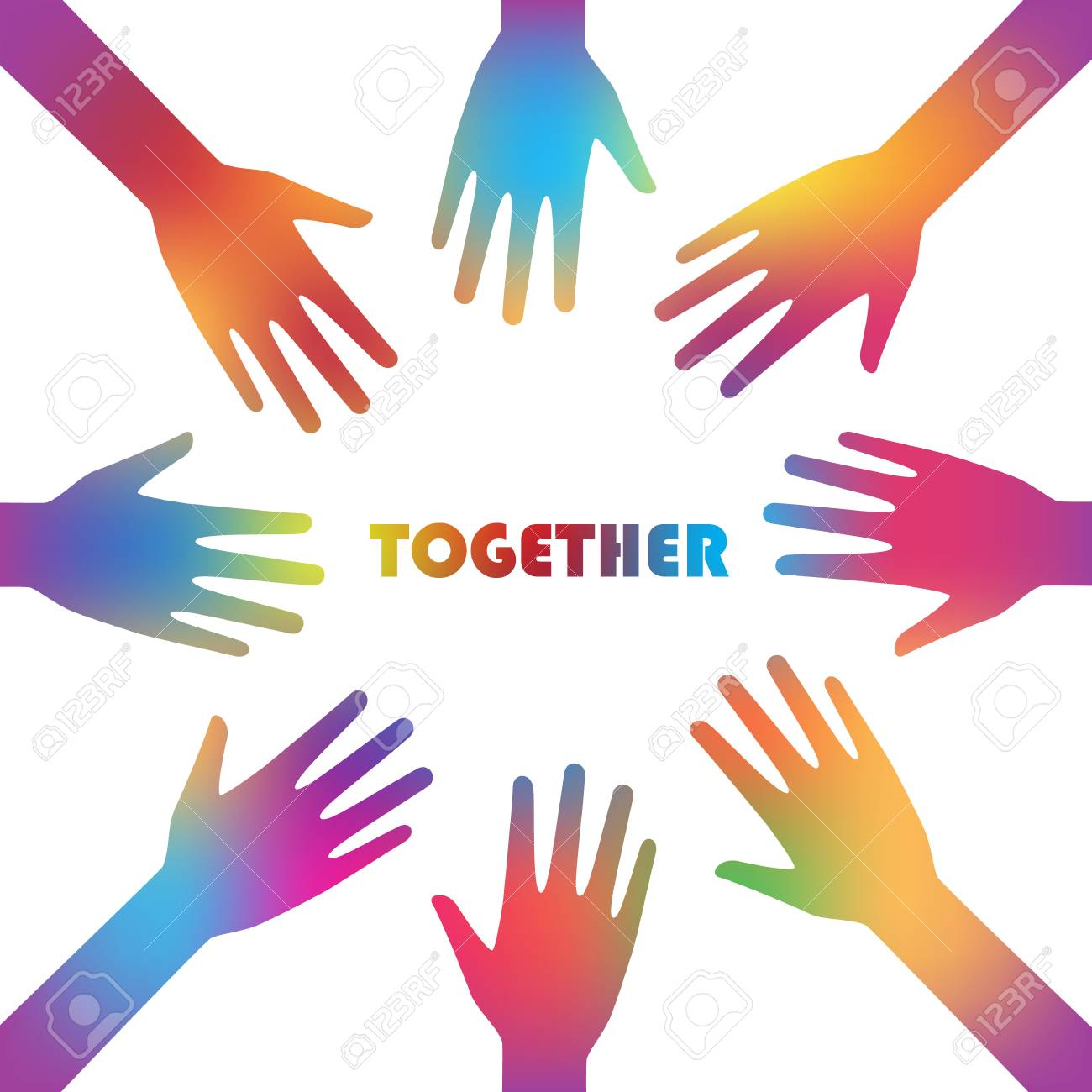 Colorful Together And Cooperation Background Graphic Design 1300x1300