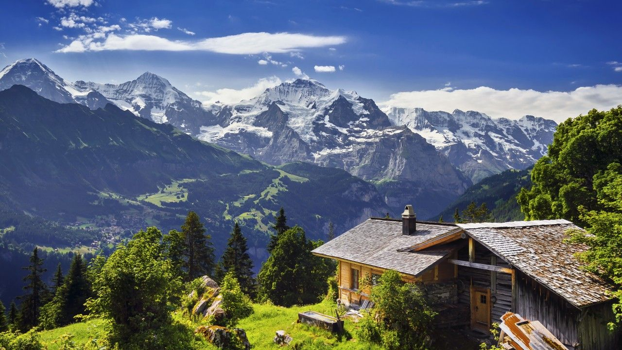 Best Beautiful panoramic view of jungfrau mountain alps landscape 1280x720