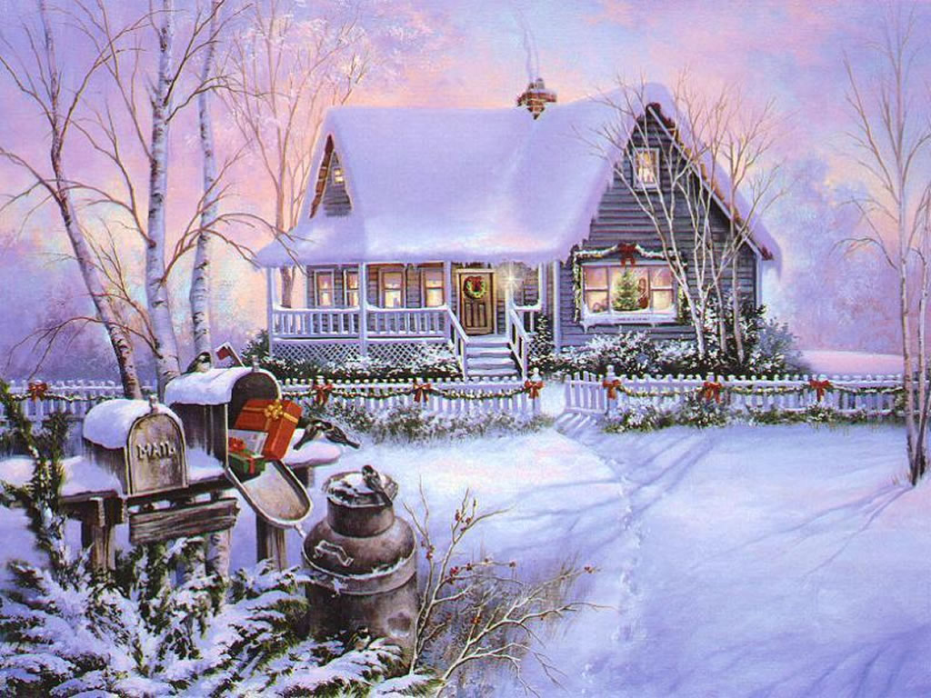 Winter Scenes Christmas Art 03 1024x768