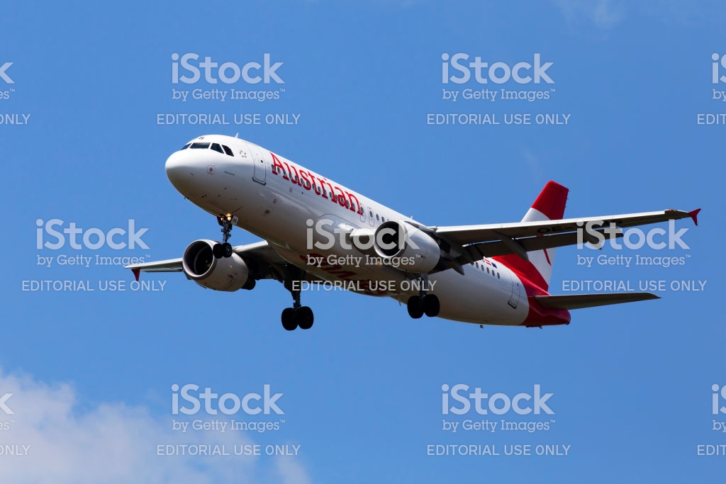 Oelbs Austrian Airlines Airbus A320214 Aircraft On The Cloudy Sky 1024x683