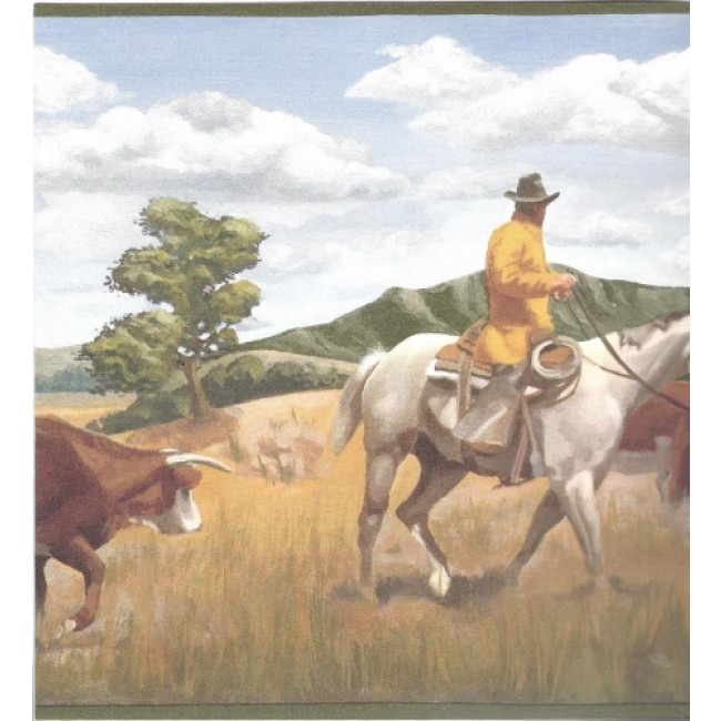 WESTERN COWBOY MOVING THE COW HERD GREEN EDGE WALL BORDER   All 4 650x650