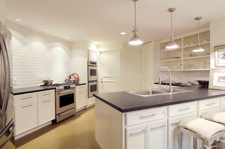 Beveled Subway Tile Backsplash   Transitional   kitchen   Cote de 740x493