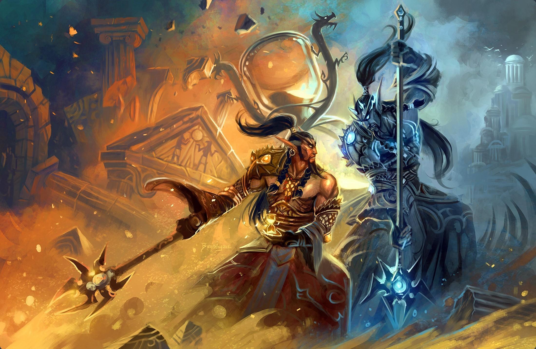 of WarCraft WoW Warriors Man Warrior fantasy battle battles wallpaper 2200x1436