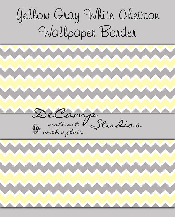 YELLOW GREY GRAY Chevron Wallpaper Border Wall Decal Baby Girl Boy 570x707