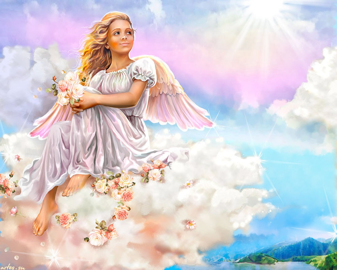 Download View Large Angel Cloud Heaven Light Painting Sitting Wings 1280x1024