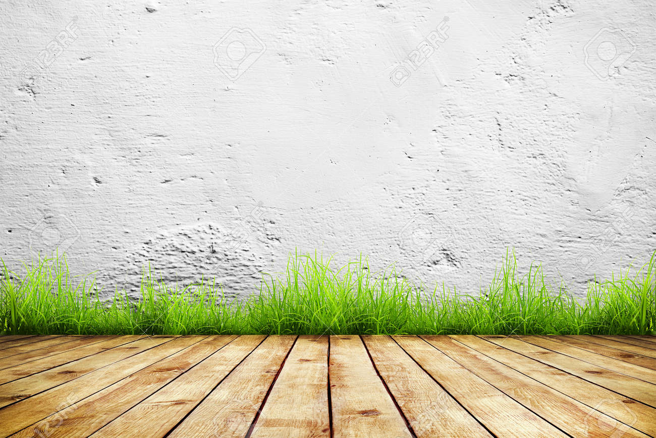 Old Wall And Green Grass On Wood Floor Background Stock Photo 1300x866