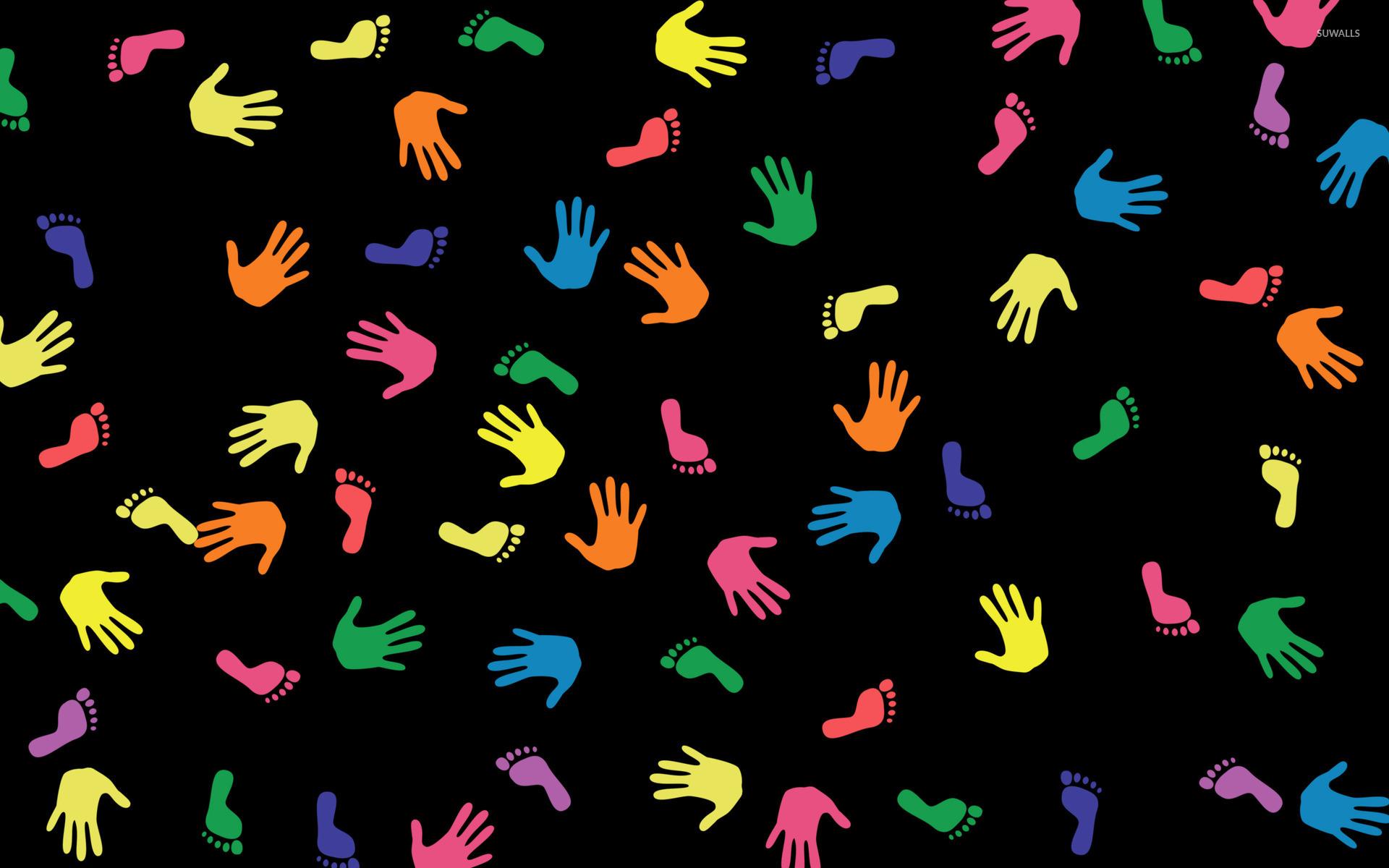 Hand and footprints wallpaper   Vector wallpapers   24084 1920x1200