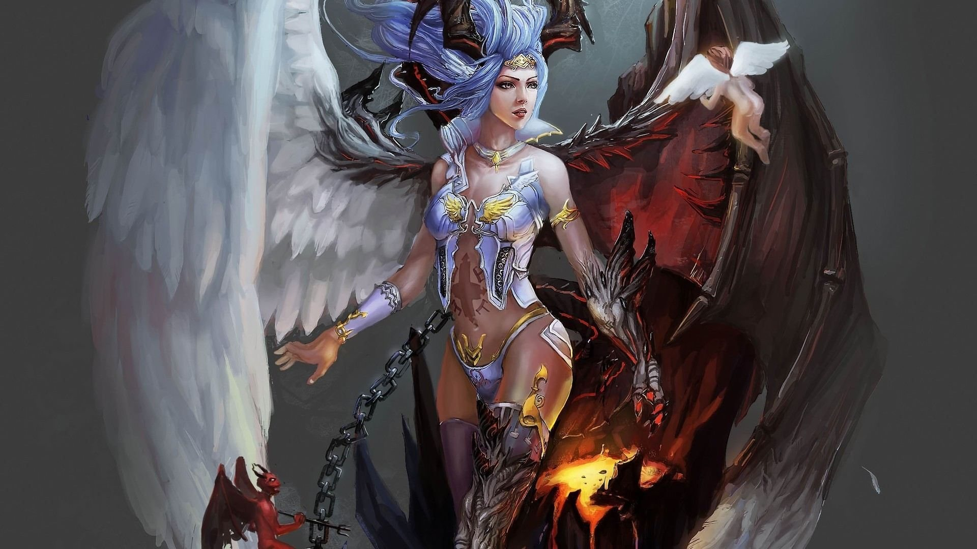 free hd wallpapers 1920x1080 fantasy angel and demon angel and demon 1920x1080