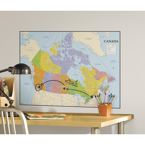 Room Mates Canada Map Peel and Stick Dry Erase Giant Wall Decal 500x500