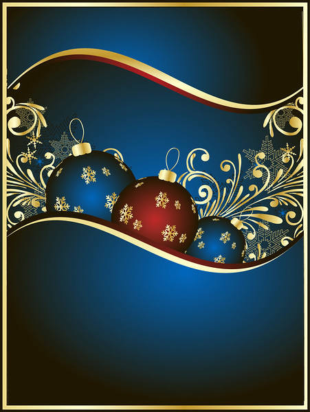 Christmas Background Blue and Gold 451x600