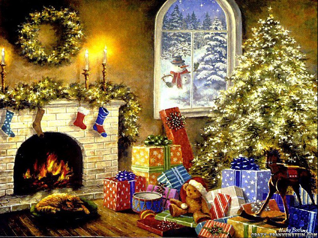 Christmas Tree Fireplace Images 1024x768