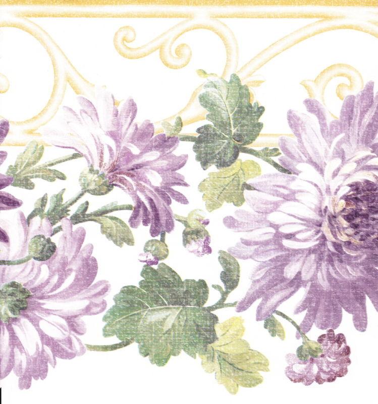 DIE CUT PURPLE LAVENDER FLOWERS Wallpaper bordeR Wall 749x800