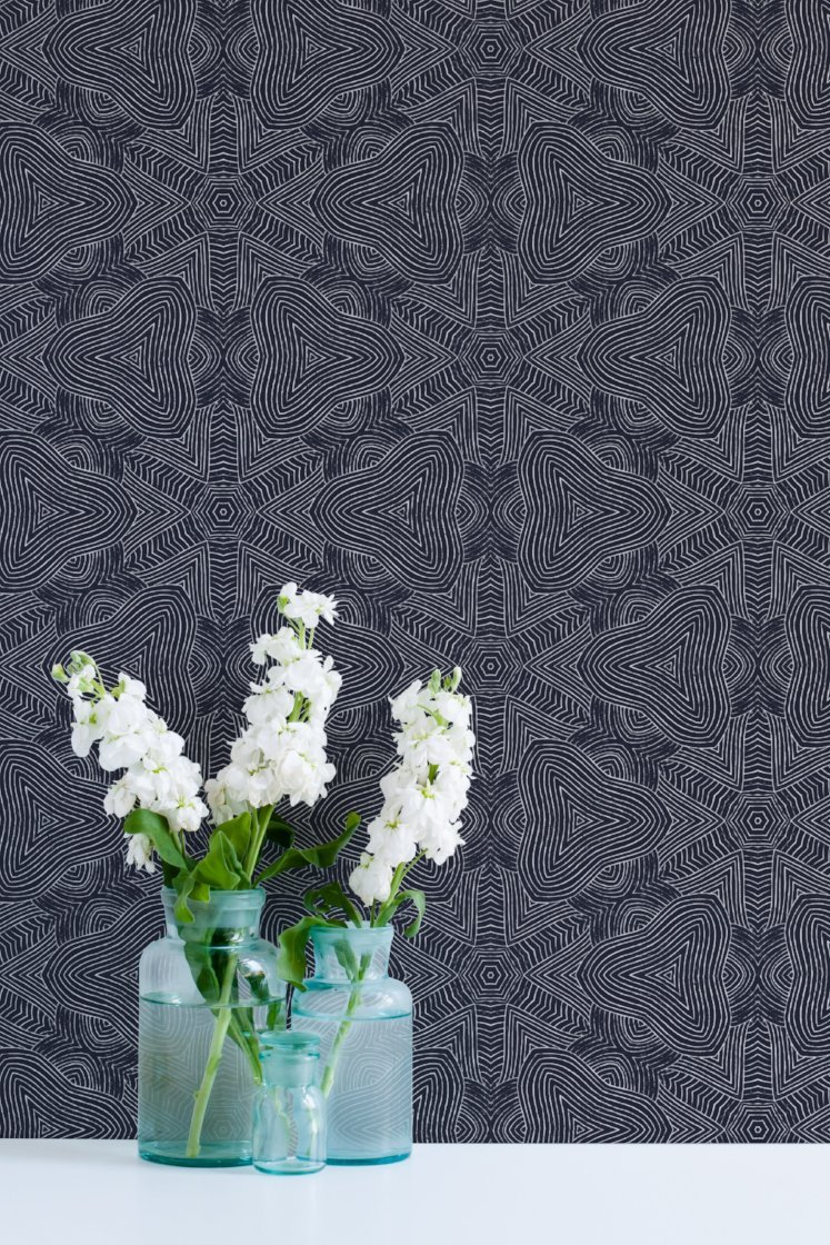 Arbor Star Wallpaper   ABRA 2018 Collection Mitchell Black Home 747x1120