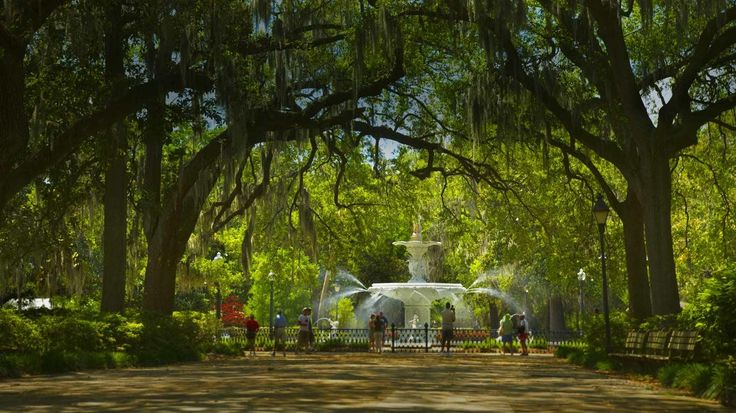 Park Fountain Savannah GA Favorite Desktop Backgrounds 736x413
