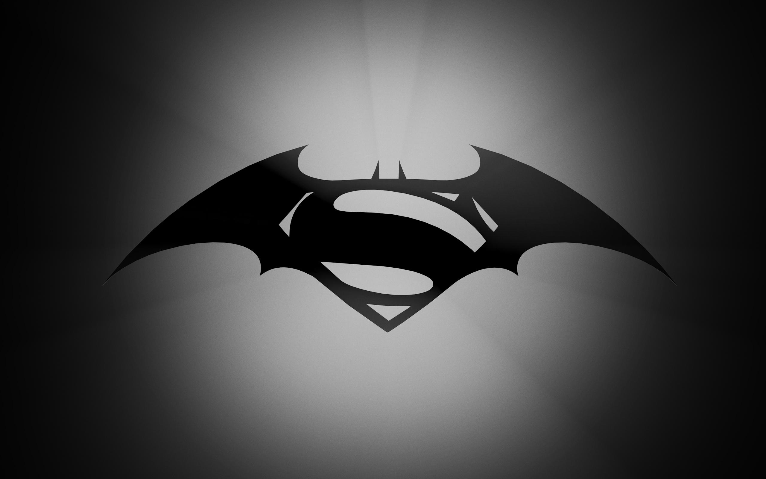 Batman and Superman Gray Logo Wallpapers HD 2560x1600