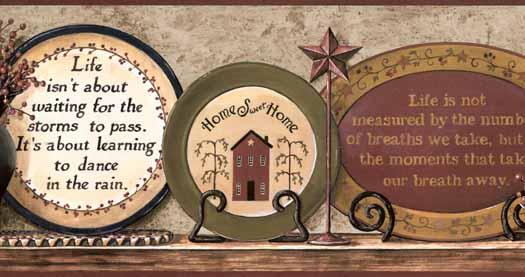 Country Shelf Wallpaper Border CB5520BDB   Wallpaper Border 525x277