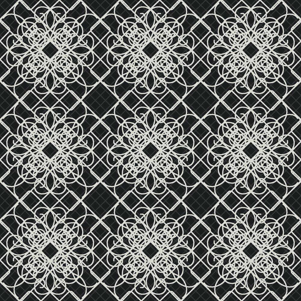 In W Black and White Giro Lace Print with Metallic Accents Wallpaper 1000x1000