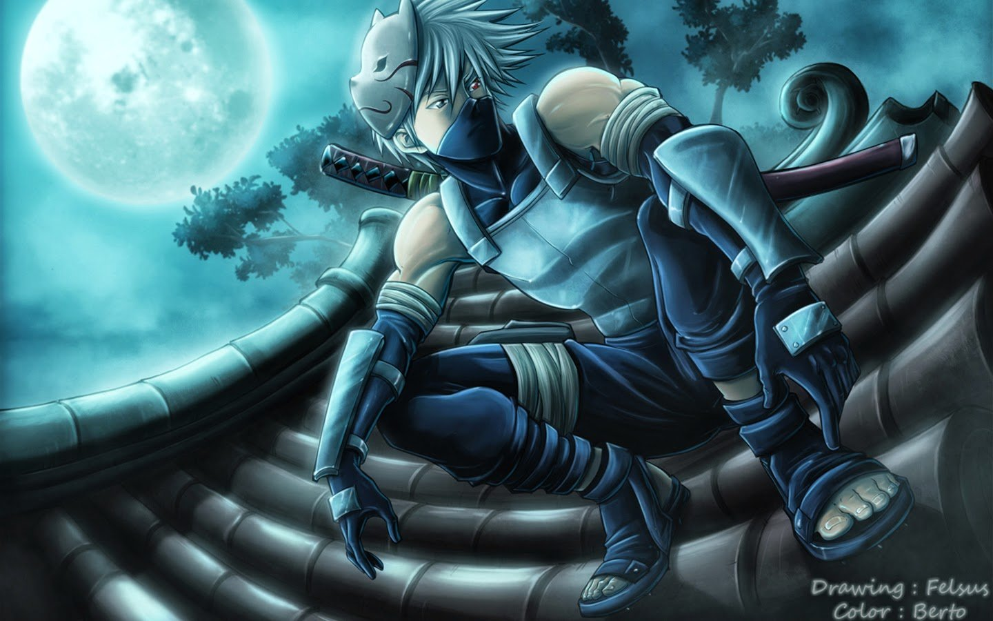 Hatake Katana Full Moon Ninja Anime Wallpaper HD g08 Male Weapon 1440x900