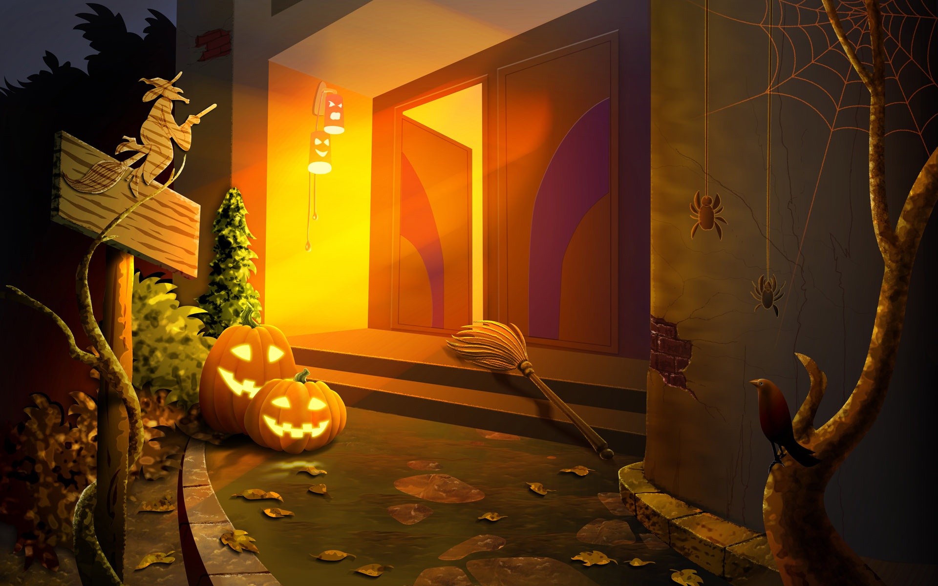 Halloween House witches Desktop wallpapers 1920x1200 1920x1200