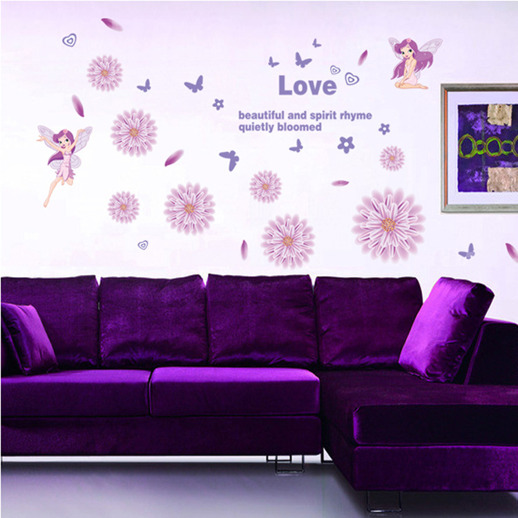 Fashion Peel And Stick Pvc Wall Decal Attractive Romantic Purple Elf 750x750