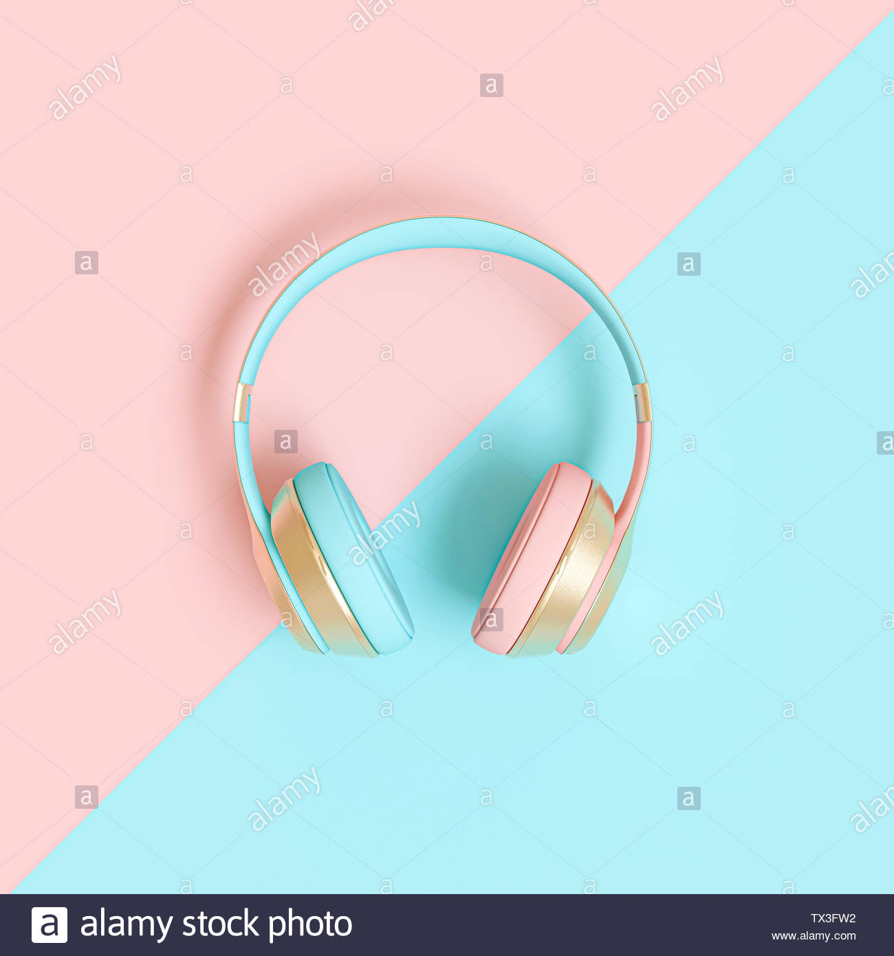 audio headphone 3d render image in pink and blue coloration du bi 1300x1390