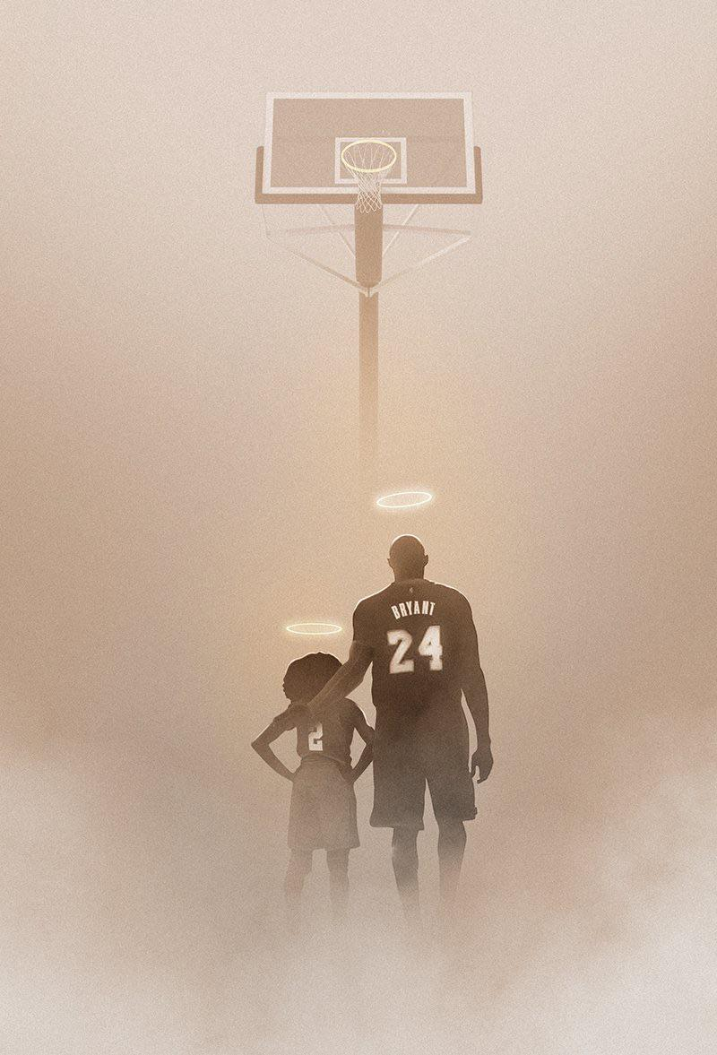 Release] wallpaper image of Kobe Bryant and Gigi RIP 800x1177